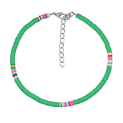 Brazalete De Tobillo 4 Mm Color Colorido Clay Anklet Summer Beach Hit Color Soft Clay Anklet Pulsera Jewelry-T
