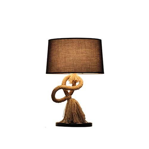 Nordic bureaulamp tafellamp Nordic Creative hennep retro lamp onderzoek woonkamer slaapkamer nachtkastje Black Shadow E27 Interior tafellamp, stuur uw baby een verjaardagscadeau