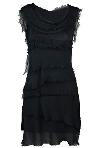 Cara Mia Sommerkleid leicht für Damen mit Seide Figurbetont Schwarz 36 38