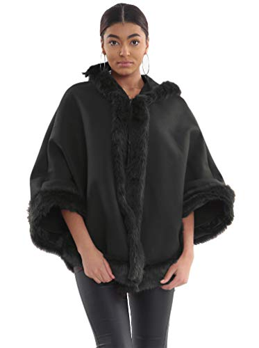 Frauen Pelzbesatz Hoodied Celeb Wrap Jacke Mantel Cape Poncho  (One Size = (8-22), Black)