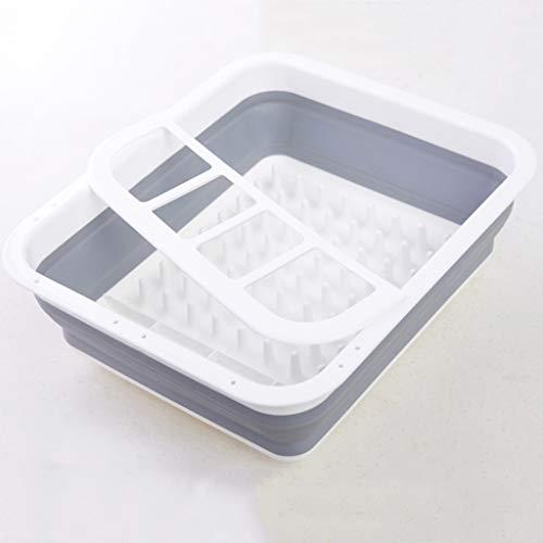 Portable Folding Dish Drying Rack, Kitchen Countertop Tableware Organizer Utensil Finishing Container Silicone Folding Drain Bowl Rack