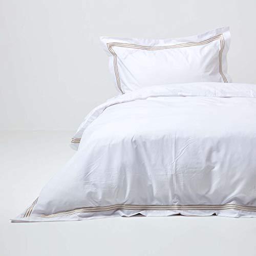 Homescapes hochwertiges Bettwäsche-Set in Weiß mit goldenem Rand, Bettbezug 135 x 200 cm + 1 Kissenbezug 48 x 74 cm