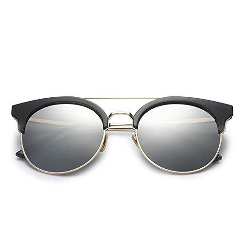 GTYHJUIK Zonnebril voor dames, met ronde spiegel, gepolariseerde polygonale metalen frame, zonnebescherming, anti-uv-veiligheidsbril, outdoor casual travel