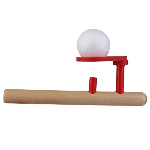 SODIAL Bola Flotante de los Juegos de Madera Clasicos Juguete de Tubo de soplado y Huevos sopla
