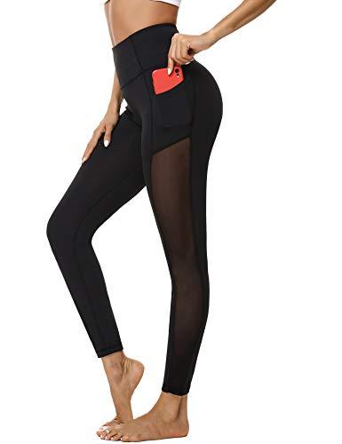 Hawiton Sporthosen Damen High Waist Jogginghose Sport Legging Fitness Yogahose Lang Blickdicht Leggings Fitnesshose mit Handytasche