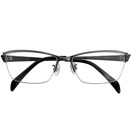 遠近両用メガネ セイブルス ハーフリム DK2413 (シルバー) (メンズセット) 全額返金保証 境目のない 遠近両用 老眼鏡 (瞳孔間距離:63mm〜65mm, 近くを見る度数:+3.0)