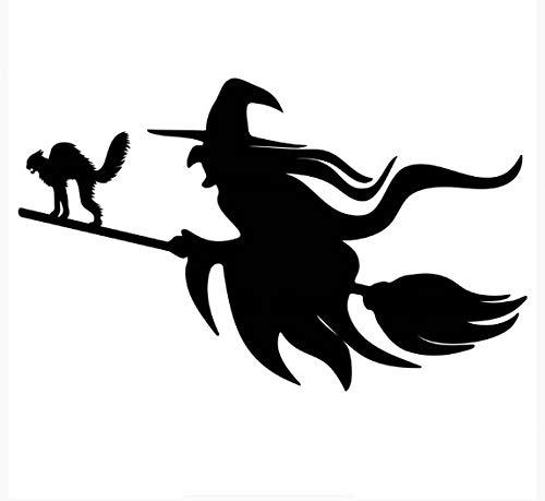 HENJIA Bruja Volando en una Escoba con un Gato Pegatina de Coche Parabrisas de Coche calcomanías de Vinilo Accesorios Pegatina de Coche 20X10,3Cm