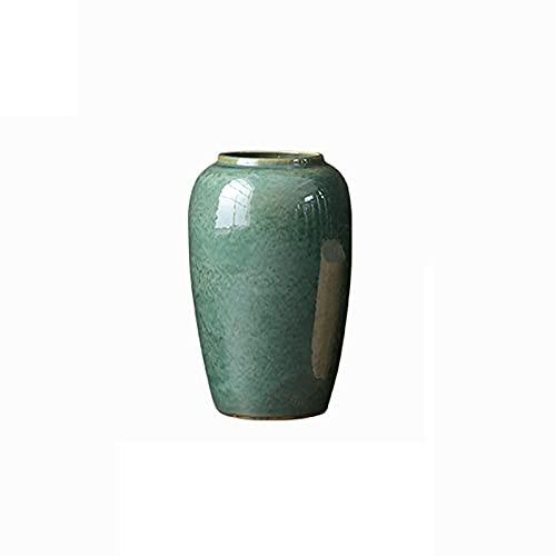 ceramics raw materials Indoor Gardening Flower Decoration Vase, Vintage Green Ceramic Vase Hotel Lobby Floor Vase(Size:2440CM)