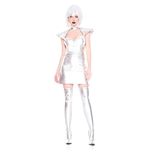Halloween kostuum, Star Wars vrouwelijke krijger, podium kostuum, lakleer jurk, zilver buitenste ruimte, effen kleur, Freesize