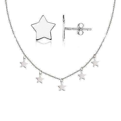 Pendientes Plata de ley 925 estrella y Gargantilla Plata Mujer con chapitas con forma de estrellitas colgando.
