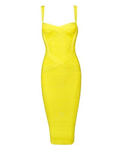 Whoinshop, knielanges figurbetontes Damen-Kleid aus Kunstseide mit Spaghettiträgern, Partykleid Gr. S, gelb
