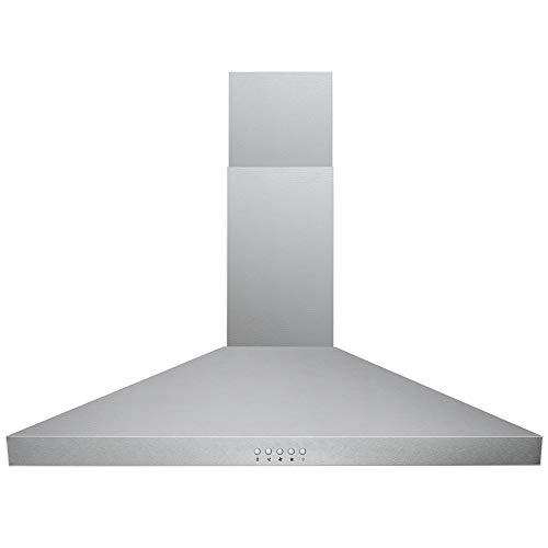 DKB Range Hood 30' Inch Wall Mount in Brushed Stainless Steel | Premium Grade Baffle Filters | 400 CFM | 3 Speed Fan | Easy to Use Push Button Control Panel | LED lights