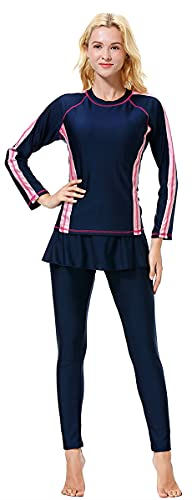 WOWDECOR Muslim One Piece Swimsuits for Women Girls Full Coverage Burkini (Navy Blue, L)
