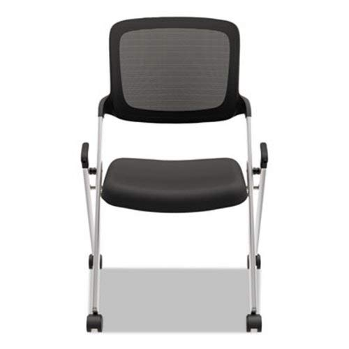 HON basyx VL304SLVR Assemble Mesh Back Nesting Stacking Chair Armless BLK Fabric Silver Frame, 2/CTN