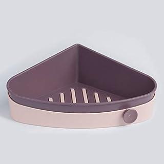 サニタリーセット キャディ接着剤浴室のシャワーシェルフオーガナイザーウォールは、ストレージはありません掘削シャワーシェルフバスエッセンシャルシャンプースパイスホルダーラックマウント (Color : パープル, Size : Sector)