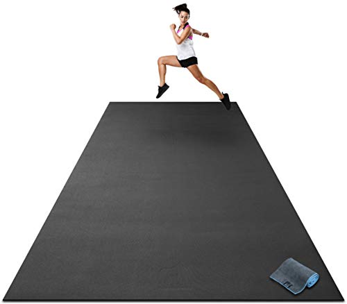 Premium Extra Large Exercise Mat - 12' x 6' x 1/4' Ultra Durable, Non-Slip, Workout Mats for Home Gym Flooring - Plyo, MMA, Cardio Mat - Use with or Without Shoes (144' Long x 72' Wide x 6mm Thick)