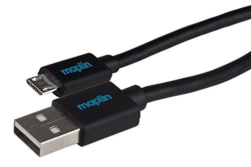 Maplin Premium USB-A 2.0 Male to Micro USB-B Male Cable 0.50m Negro...