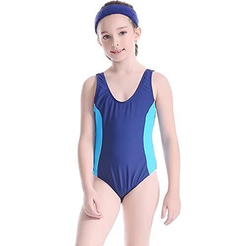 ReedG Chicas para niños Traje de natación Incluido Juego de Traje de baño de niñas Juego de Traje de baño de Playa de Verano Traje de baño de Bikini (Color : Blue, Size : 164CM)