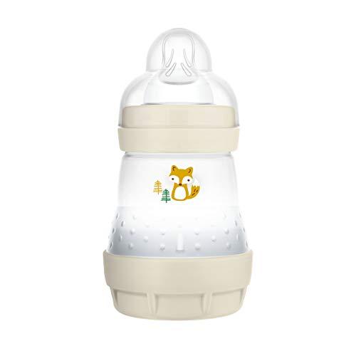 MAM Easy Start - Biberón anticólicos (160 ml), Botella de Leche para la Lactancia Materna, con válvula Inferior contra cólicos y tetina, tamaño 1, 0 Meses, Zorro