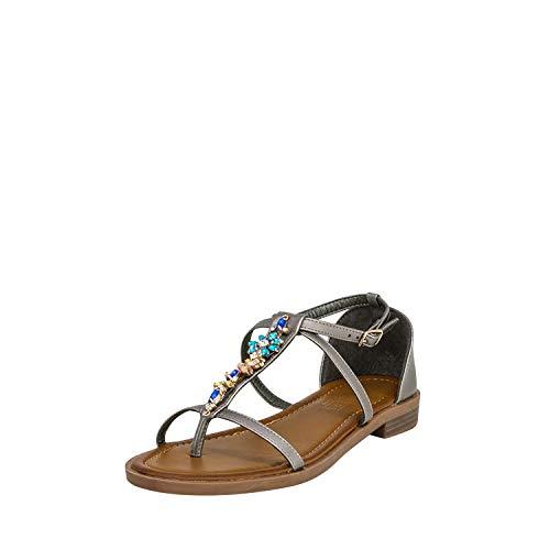 Fitters Footwear That Fits Damen Sandale Mona PU Zehentreter mit Strasssteinen Übergröße (44 EU, grau)