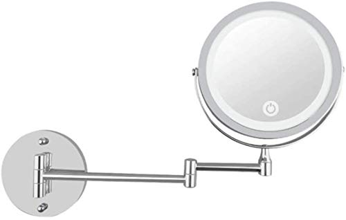 Leuchtspiegel, Spiegel 10 mal Lupe drehbaren Spiegel 360 erstreckt, kann im Schlafzimmer oder im Bad kratzen,Silver