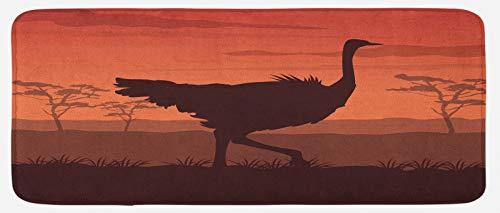 ABAKUHAUS Avestruz Tapete para Cocina, La Puesta del Sol Salvaje del pájaro Silueta, con Superficie de Felpa Estampada Dorso Antideslizante, 48 cm x 120 cm, Marrón castaño Canela