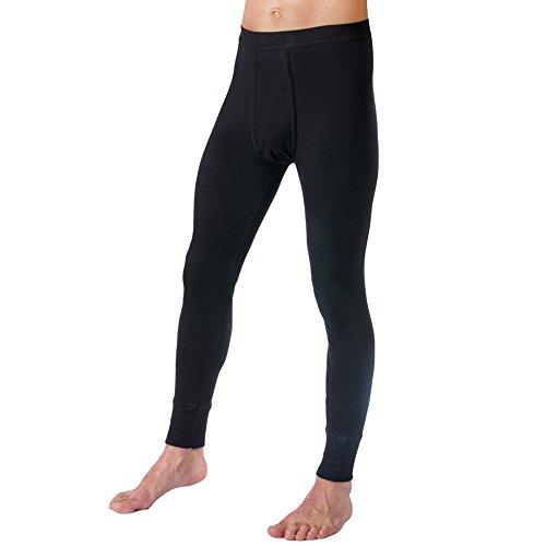 HERMKO 3540 Herren Lange Unterhosen mit Eingriff und Weichbund aus 100% Bio-Baumwolle in Feinripp, Farbe:schwarz, Größe:D 6 = EU L