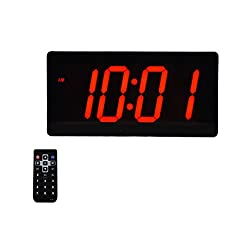 Large Digital Wall Clock - Best Alarm Clock with Remote Control - 4 Digits LED Calendar and Temperature Clock
