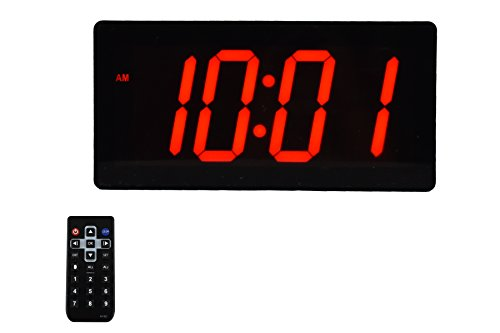 "Large Digital Wall Clock - Best Alarm Clock with Remote Control - 4"" Digits LED Calendar and Temperature Clock"