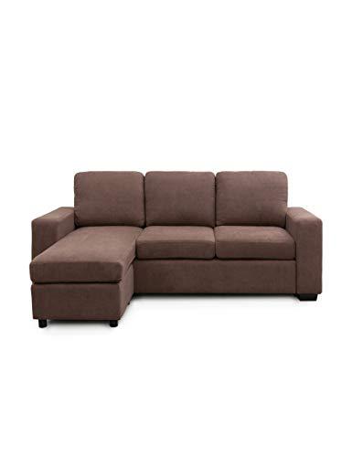 SWEET SOFA-Sofá Chaiselongue Mika, sofá de 3 plazas con pouff Reversible en tapizado en Tela Antimanchas Color Gris o marrón. - Marrón