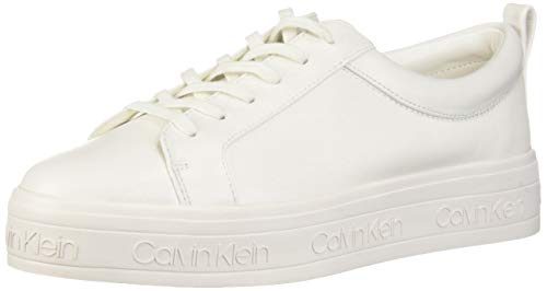 Calvin Klein Women's JAELEE Sneaker, White Leather, 11 M US