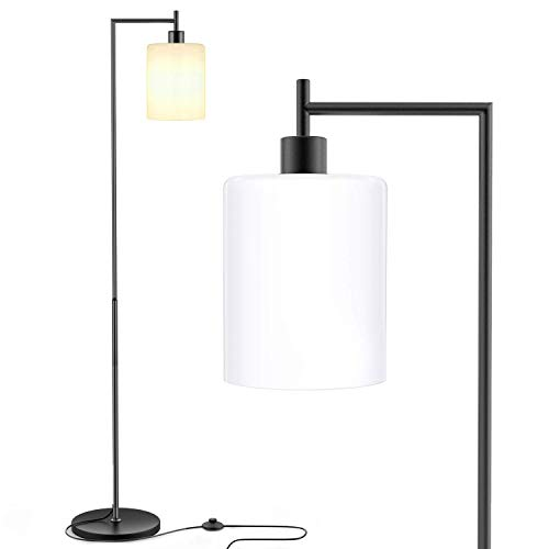 Floor Lamp for Living Room, Industrial Standing Lamp with White Jade Glass Shade, Modern Floor Lamp for Bedroom, Foot Switch Black Floor Lamp (11W LED Bulb Included)
