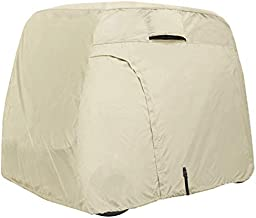 Explore Land 600D Waterproof Golf Cart Cover Fits for Most Brand 4 Passengers Golf Cart (Light Tan)