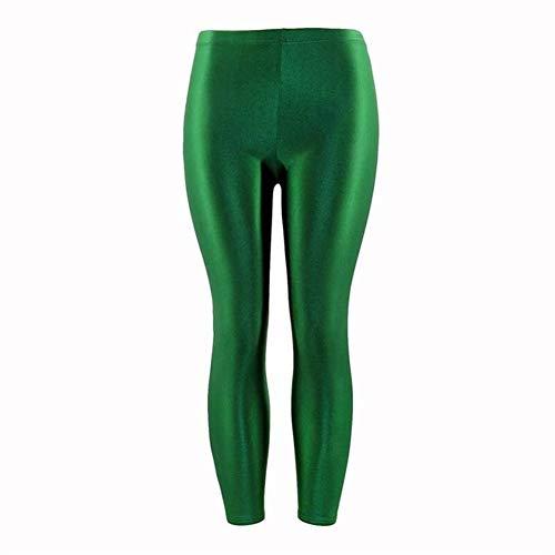1 unid mujeres polainas populares panty brillante fluorescente casual spandex pantalones para niña tamaño grande color sólido elástico cintura alta