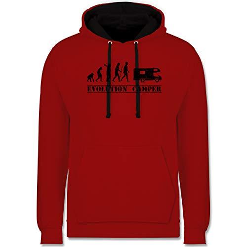 Shirtracer Evolution - Evolution Camper - XS - Rot/Schwarz - Globetrotter - JH003 - Hoodie zweifarbig und Kapuzenpullover für Herren und Damen