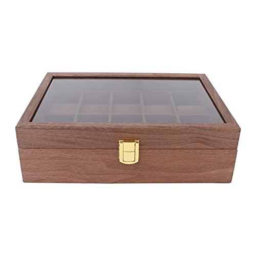 10 Rejilla Cubierta Transparente Caja de Reloj de Madera Reloj Organizador de Almacenamiento de Joyas Caja de contenedores