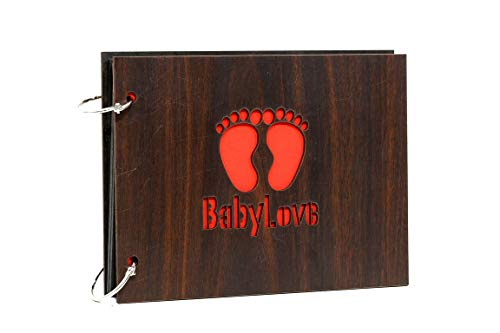 WHICHWOOD Baby Love Wooden Photo Album Scrapbook Memory Book 30 Pages (22 cm x 15 cm_Brown)