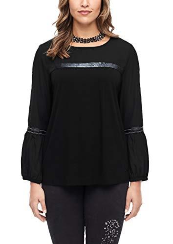 TRIANGLE Damen Fabricmix-Shirt mit Pailletten Black 48