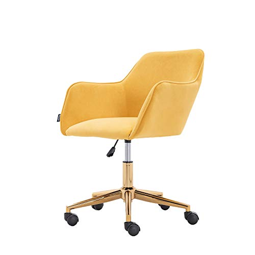 ERILEWE COLLECTION Velvet Mid-Back Home Office Chair with Arms and Gold Chrome Metal Legs, Yellow Velvet Desk Chair, Task Chair