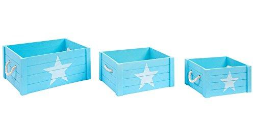 Indhouse Plat – Boîtes pour jueguetes en Bois Bleu pour décoration de Style Nordique – Set de 3