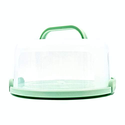 Top Shelf Elements Cake Carrier For Up To 10 inch x 4 1/2 inch Cake. Two Sided Fashionable Sea-Foam Green Base Doubles as Five Section Serving Tray