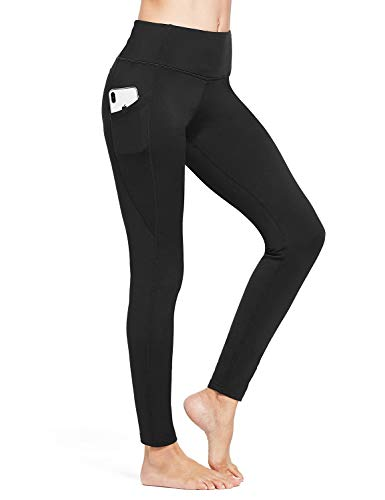 BALEAF Women's Fleece Lined Leggings Winter Yoga Leggings Thermal High Waisted Pocketed Pants Black S