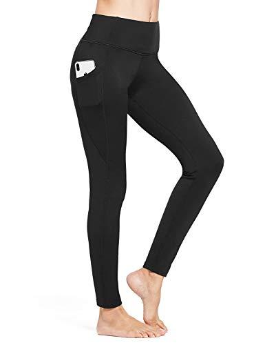 BALEAF Women's Fleece Lined Leggings Winter Yoga Leggings Thermal High Waisted Pocketed Pants Black L