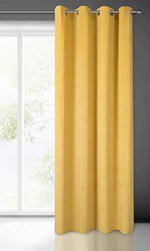 Eurofirany Samt Vorhang Velvet Einfarbig Glatt 8 Ösen 1 STK. Flauschig Weich Modern Edel Klassisch Wohnzimmer Schlafzimmer Lounge, Senf Gelb, 140X250 cm
