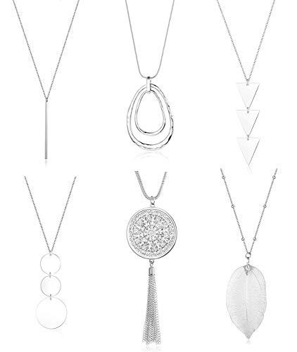 CASSIECA 6 STÜCKE Lange Anhänger Halsketten für Damen Scheibe Blätter Quaste Y-Kette Lang Pullover Kette Modeschmuck Kette Set