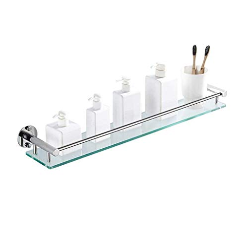 L.TSA Rechteckiges Badezimmerregal Regal aus gehärtetem Glas Badezimmerregal mit Schienenwandmontierter Handtuchhalter aus gebürstetem Edelstahl (Größe: 50 cm)