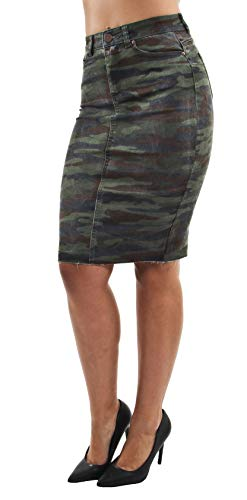 Women's Junior Butt Lift, Push Up, Knee Length Midi Pencil Denim Skirt in Camouflage Size S