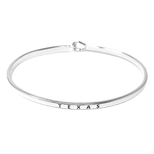 Me Plus Insporational 11 State Engraved Thin Bangle Hook Bracelet Gold, Silver, Rose Gold (Texas - Silver)