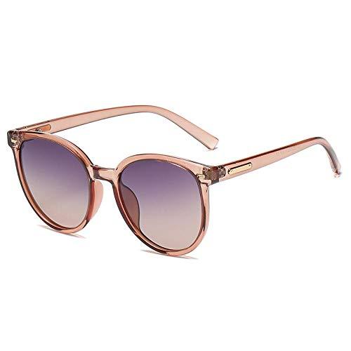 Gosunfly Gafas de sol redondas polarizadas tendencia de moda hombres y mujeres TR box gafas de sol-Champagne box - degradado gris naranja