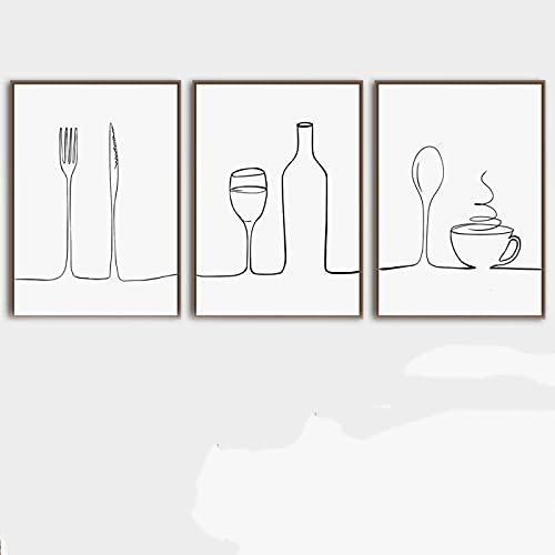 DMMHYJ Estilo nórdico Impreso línea Pared Arte Lienzo Pintura para Cartel de Cocina líneas abstractas decoración de habitación estética Imagen 40x60cmx3 sin Marco